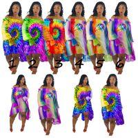 Wholesale rainbow chiffon clothes for sale - Group buy Tie Dye Women Off shoulder Chiffon Dress Rainbow Lips Mouth Skirts Shoulder Out Irregular Hem Dresses Casual Beachwear Club Clothing C73004