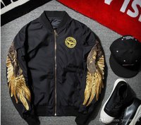 Wholesale military carrier for sale - Group buy 2017 new Angel Wing Embroidery Bomber baseball Jacket Military Airforce Men Bomber Carrier Long Sleeve Bomber Jacket Pilot Jacket