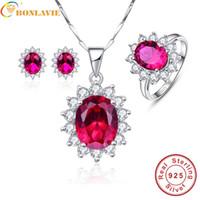 ingrosso 925 collana solare-BONLAVIE principessa Diana fiore di Sun della decorazione di Ruby da sposa orecchini collane anelli Insiemi dei monili Argento 925