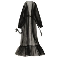 Wholesale see through lingerie for women resale online - Hot Sale Black Lingerie for Women Sexy Long Lace Dress Sheer Gown See Through Kimono Robe Dress Gown Sexy Long Sleepwear S XL