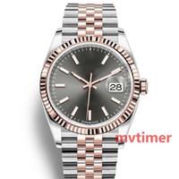 mulheres de negócios venda por atacado-Luxo Rose Gold Cinza Dial Aço Inoxidável Automático Mecânico Novo Relógio Bussiness Alta Qualidade mulheres Diamante Mens Relógios