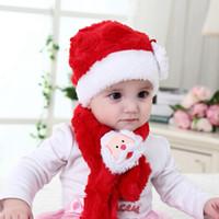 Wholesale kids plush hat cap for sale - Group buy Kids Christmas Santa Claus Hat Scarf set Children Plush Cartoon baby scarf Children Winter Warm Cap Christmas Beanies LJJA3516