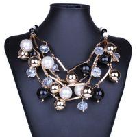 ingrosso disegni perla nera-2018 Nuova dichiarazione Gioielli di marca Moda tubo d'oro Perle nere girocolli Design multistrato Collane di perle da donna NK25