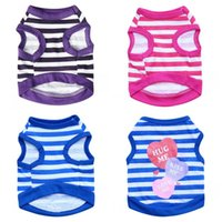 Wholesale mes clothing online - Pet Dog Stripe Vest Full Jersey Clothes Small Teddy Short Sleeve Kiss Me Summer Purple Blue lb C1