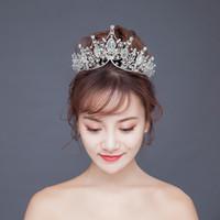 kızlar doğum günü tiaraları toptan satış-Kore Gelin Taçlar Hairbands Düğün Tiaras Bantlar Kristal Kızlar Doğum Günü Partisi Prenses Diadem Büyük Taç Düğün Peçe Saç Aksesuarları