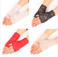 weiße baumwollspitze handschuhe großhandel-Sommer Halb Finger Handschuhe Im Freien Fahren Anti UV Dünne Spitze Baumwolle Schwarz Und Weiß Einfarbig Mode Handschuh