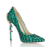 vestidos de novia verdes únicos al por mayor-Venta caliente-Rhinestone verde zapatos de vestir de tacón de serpiente mujer cuero genuino único punta estrecha tacones altos bombas chaussures femme zapatos de boda