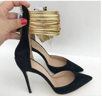 new type Golden red ankle band Hollow Sandals Women s High heeled shoes 10cm Cusp Fine heel large size 44 nightclub wedding red bottom shoes