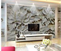 şakayak odası toptan satış-Oturma odası için modern duvar kağıdı 3D Şakayık Arka Plan Duvar Ahşap Oyma Arka Plan Duvar Boyama