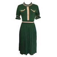 linha da marca do vestido venda por atacado-608 2019 Frete Grátis Brand Same Style Vestido Flora Imprimir Verde Tripulação Pescoço Manga Curta Acima Do Joelho Império Moda Prom Vestidos RENJIE