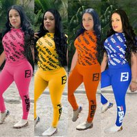 Wholesale women s summer tight pants for sale - Group buy Women FF LETTER Tracksuit Short Sleeve T shirt Pants Piece Set Summer Tops Tees Leggings Outfits Tights Sportswear Sweatsuit HOT A41305