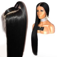 super long cheveux bruns achat en gros de-Lace Front Wig 250% Densité Droite 360 Frontale Dentelle Perruques de Cheveux Humains Remy Brésilien Complet Extrémités Pré Cueillie Pour Les Femmes Noires
