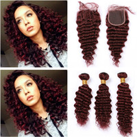 Wholesale color red wine hair weave resale online - Burgundy Red Deep Wave Peruvian Human Hair Bundles with Closure J Wine Red Wavy Virgin Hair Lace Closure x4 with Weaves