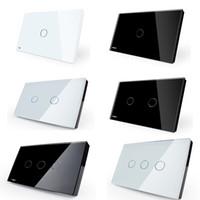 cam siyah ışık toptan satış-Dokunmatik Anahtarı Siyah Beyaz Kristal Cam Panel 1/2/3 gang AC110 ~ 250 V LED göstergesi ABD / AU Standart Işık Dokunmatik Ekran Anahtarı