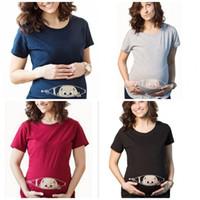 camiseta del tamaño del niño al por mayor-Nueva dama, mujer embarazada, camiseta, niño divertido, manga corta, ropa de verano de gran tamaño, cuello redondo, azul marino, negro, 20ys C1