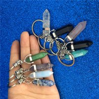 Wholesale Chakra Hexagon Prism Natural Stone Keychain Key Ring Handbag Hangs Fashion Jewelry Gift Drop Ship
