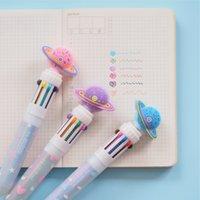 ingrosso regali di penne della caramella-Candy Planet Modeling 10 colori vistosi Penna a sfera scuola regalo di alimentazione Stationery Office Papelaria Escolar