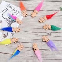 ingrosso regali felici del bambino-Capelli colorati Troll Doll Family Members Papà Mummia Baby Boy Girl Leprocauns Dam Trolls Toy Gifts Happy Love Family