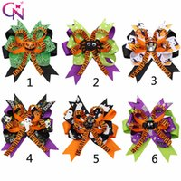 Wholesale flower hair accessories crochet for sale - Group buy 4 Halloween Hair Bows for Girls Designed Printed Hair Clip Pumpkin Ghost Patches Hairpin Festival Party Kids Hair Accessories