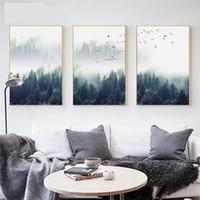 ingrosso vernice design casa-Nordic Decoration Forest Lanscape Wall Art Canvas Poster e stampa su tela dipinto Immagine decorativa per soggiorno Home Decor