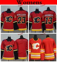 Wholesale women jersey 23 resale online - Womens Calgary Flames Johnny Gaudreau Sean Monahan Hockey Jerseys Home Team Red Cheap Ladies Kids Girls Boys Stitched Shirts