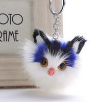 llaveros gato para niñas al por mayor-Encantador encanto de las mujeres mullidas llaveros gatito lindo gato llavero para las niñas pompones de piel llavero de coche monedero colgante pom pom llaveros joyería