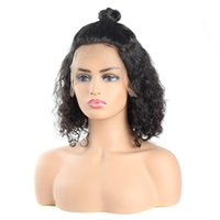 Wholesale short deep wave human hair resale online - Bob Wigs Deep Curly Short Wig Peruvian Hair Deep Wave Brazilian Human Hair Wigs Curly Human Hair Lace Front Wigs