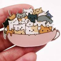 broches de acrílico gato broches al por mayor-1 piezas de dibujos animados lindo gato apilado broche de acrílico para mujer ropa insignia iconos en la mochila broches alfileres insignias regalo para niños