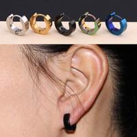 233918fe544694 Stud Earrings Wholesale Mens Cool Stainless Steel Ear Studs Hoop Earrings  Black Blue Silver Gold Channel Earrings Party Favor DHL WX9-1414