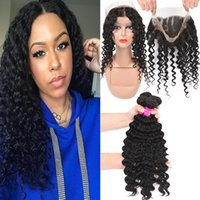 Wholesale chinese remy kinky straight hair for sale - Group buy 9A Remy Brazilian Hair Deep Wave With Full Lace Closure Kinky Curly Water Wave Loose Straight With Full Lace Closure Pre Plucked