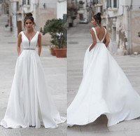 Wholesale drop sash belt for sale - Group buy Simple A Line Summer Boho Wedding Dress With Pockets Sexy Backless Sleeveless Beaded Belt Beach Garden Wedding Gown Plus
