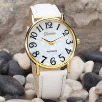 Wholesale watches for old men for sale - Group buy Hot Fashion Women Watches Big Numbers Retro Leather Women Watch Wristwatch For Old Man and Child Arabic Watch Top Woman Gifts A