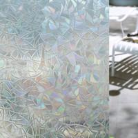 cam için kendinden yapışkanlı film toptan satış-Cam Çıkartmalar Ev Oturma Odası Yatak Odası Için 3d Hiçbir Tutkal Statik Dekoratif Gizlilik Pencere Filmleri Kendinden Yapışkanlı UV ...