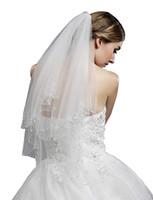 3m veil cetim venda por atacado-Barato em estoque mulheres 2-tier tulle frisado borda véu de noiva para vestido de noiva 11053