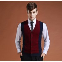 ingrosso maglie rosse di maglione-Maglione Cardigan Buttons Down Knit Jacket Vest for Men Sleeveless Wool Moda Moda Patchwork Rosso Grigio 2018