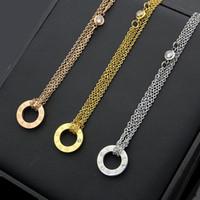 Wholesale black titanium necklaces for men resale online - high quality Classic fashion brand Love Pendant Necklace For Women Titanium Steel Crystal rose Gold silver man Necklace Jewelry