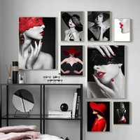 Wholesale sexy abstract paintings for sale - Group buy Sexy Lips Fashion Girl Canvas Art Posters and Prints Scandinavian Painting Wall Picture for Living Room Modern Home Decoration