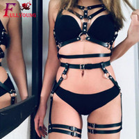 Wholesale leather suspender strap resale online - Fullyoung Sexy Leather Harness Set Garters Belts Women Bra Suspenders Garter Straps Body Belts Waist To Leg Bondage Cage