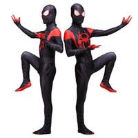 terno de filme preto homens venda por atacado-Homens Adultos Incríveis Milhas Morales Jumpsuit Cosplay Filme Halloween-Homens Bodysuit Preto Terno Vermelho