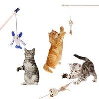 varas de madeira venda por atacado-Animal Gato Teaser Vara De Madeira Varinha De Madeira Anel De Sino Haste De Penas Para Gatinho Jogando Brinquedo Interativo Produtos Engraçados do Gato
