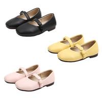 zapatos de color marrón al por mayor-3 colores del tamaño del niño de los zapatos de niña lazo del resorte del otoño niños grandes chicas sandalias de Baotou dulce princesa ballet de los zapatos de bebé de color marrón 26-36