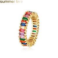 joyas llenas de oro del arco iris al por mayor-Rainbow CZ Square Anillo de compromiso para mujeres Niñas Colorido Cubic Zirconia Band Anillos Gold Filled Fashion Party Wedding Jewelry