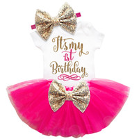 Wholesale newborn baby girl clothing sets resale online - kids designer clothes girls st nd Birthday Cake Smash Outfits Infant Clothing Sets Romper Tutu Skirt Headband Newborn Baby Suits