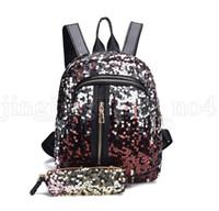 Wholesale women bling backpack for sale - Group buy Mermaid Sequins Backpack With Pencil Case Students School Bling Book Bag Women Travel Bag Backpack KKA6571
