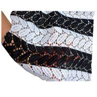 schwarze guipure spitze stoff großhandel-2018 Elegante Afrikanische Schnur Spitze Guipure Stoff Wasserlösliche Druck Stickerei Nigeria Hochzeitskleid Spitze Stoff Schwarz / Weiß