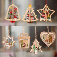 campana adornos para el árbol de navidad al por mayor-Adornos navideños Adornos navideños Árbol de Navidad de madera Colgante pequeño Colgante de campana de estrella de madera de cinco puntas regalo para niño A04