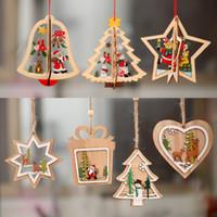 pequenas decorações de árvore de natal venda por atacado-Decorações de natal enfeite De Natal De Madeira árvore De Natal Pequeno pingente De Madeira de cinco pontas estrela sino pingente de presente para criança A04