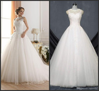 Wholesale modern fluffy wedding dresses for sale - Group buy 2019 New Sexy Wedding Dresses Cheap Sheer Jewel Neckline Beaded Lace Applique Fluffy Backless A Line Wedding Gowns Princess Wedding Dresses