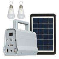 banco de energía portátil ligero al por mayor-Luz de bulbo solar con el altavoz Bluetooth para el altavoz estéreo portátil al aire libre del banco del poder del panel que acampa solar