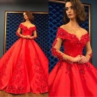 Wholesale heavy red evening gowns for sale - Group buy Red Ball Gown Evening Dresses Long Elegant Women Quinceanera Dress Heavy Beaded Crystal Deep Long Sleeve Sweet Dresses